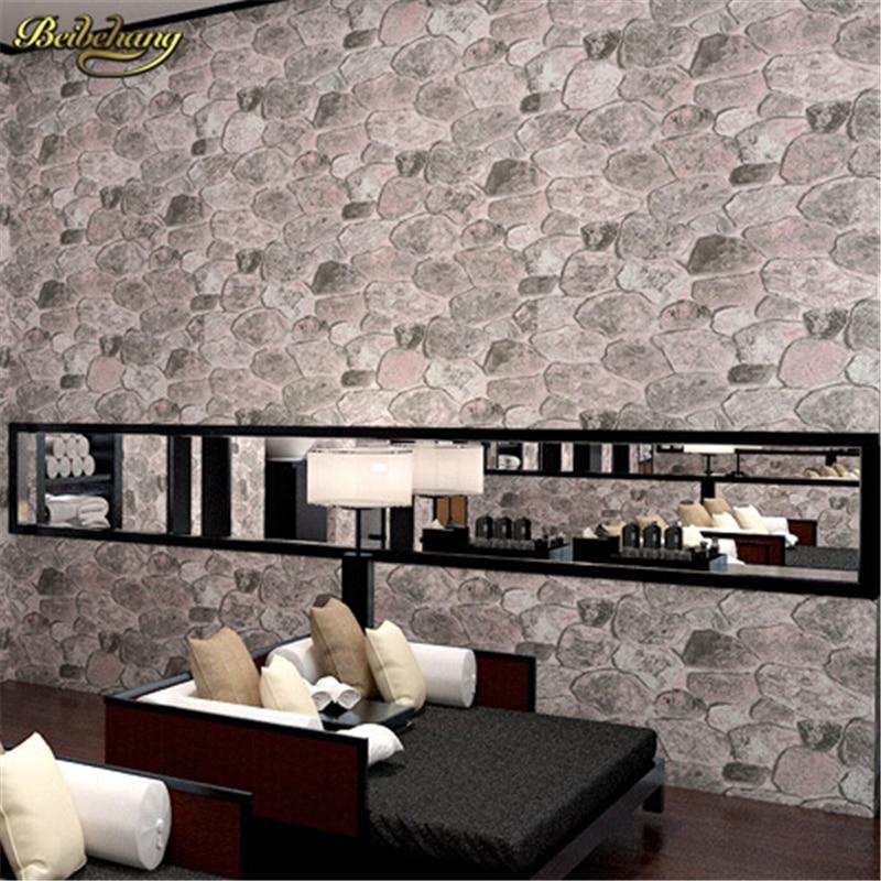 beibehang Pvc wallpaper stone wood pattern wall paper roll modern simple wallcovering for KTV papel de parede listrado wallpape <br>