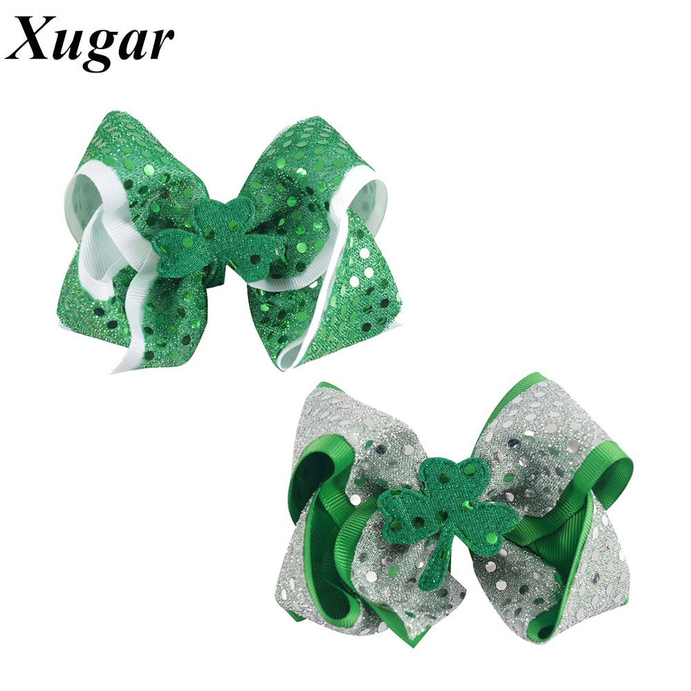 4.5 Sweet Grosgrain Ribbon Sequins Hair Bow With Clip Hairpins For St. Patricks Day Girls Hair Accessories <br><br>Aliexpress