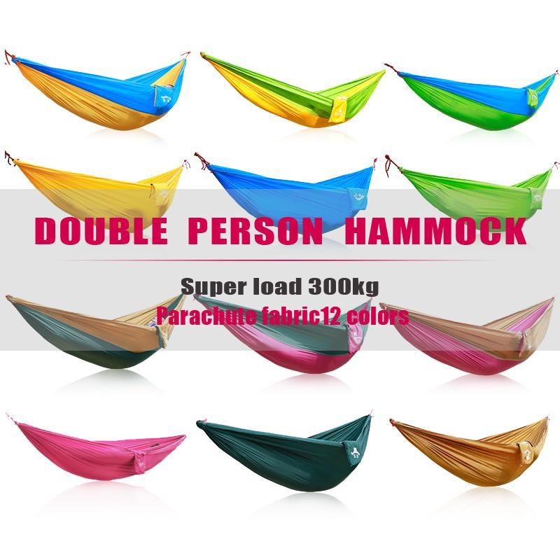 Double Person Camping Hammock Survival Hammock Parachute Cloth Portable lightweight Double Hammock outdoor hangmat hanging bed<br>