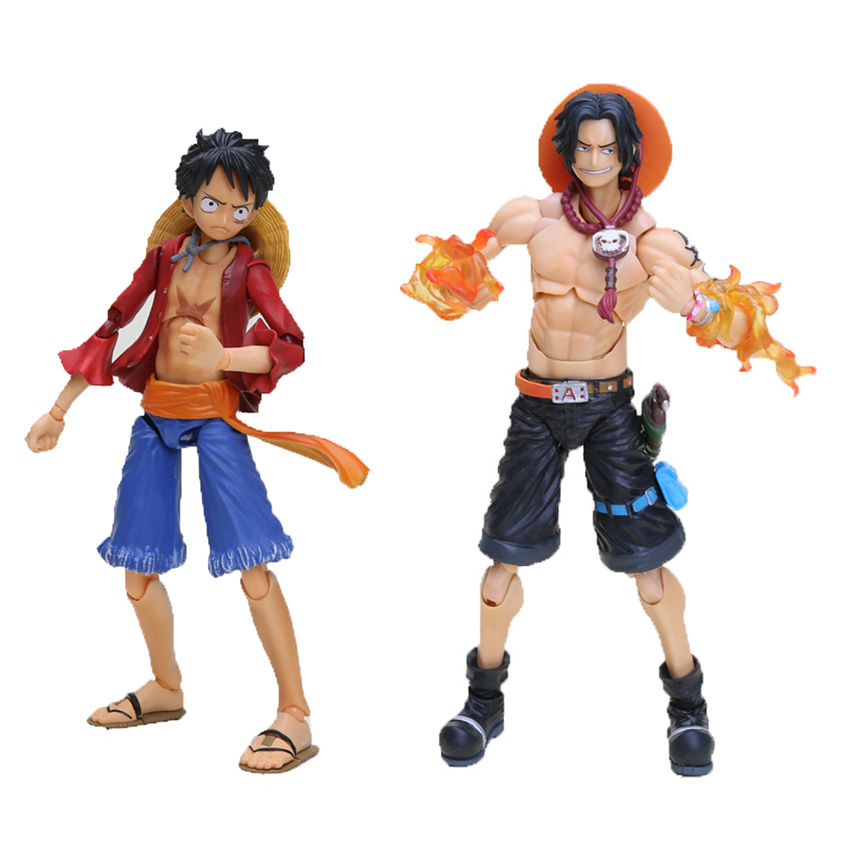 2pcs/lot Japanese Anime One Piece Brothers Monkey D Luffy vs Portgas D Ace Death of Ace PVC Action Figure Model Joint Toy(China (Mainland))