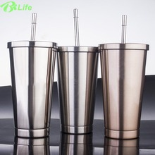 500ml 304 Stainless Steel Cup with a Straw Vaccum Thermos Insulation Cup Water Bottle Cup Coffee Mug Cup