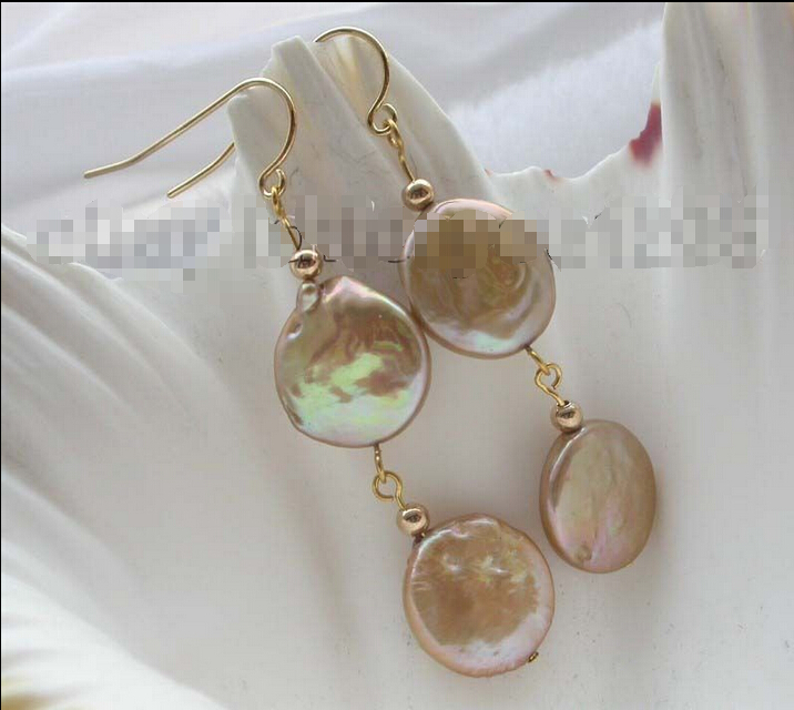 Natural 14mm Champagne Coin pearl Earrings 14KGP