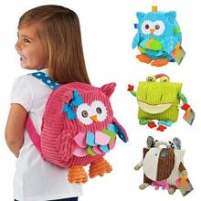 New Cute Cartoon Soft Owl Monkey Animals backpack Toy for Children schoolbag plush hasp baby bags