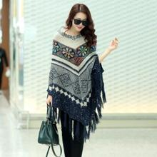 Ethnic style new autumn winter female loose cloak tassel shawl pullover sweater bat sleeve knit cape coat T369
