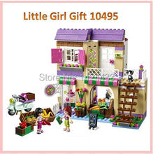 Good Friend Gift Heart Lake City Food Store Little Girl 10495 Building Block DIY Active Assemble Education Brick Sets Kids Toys
