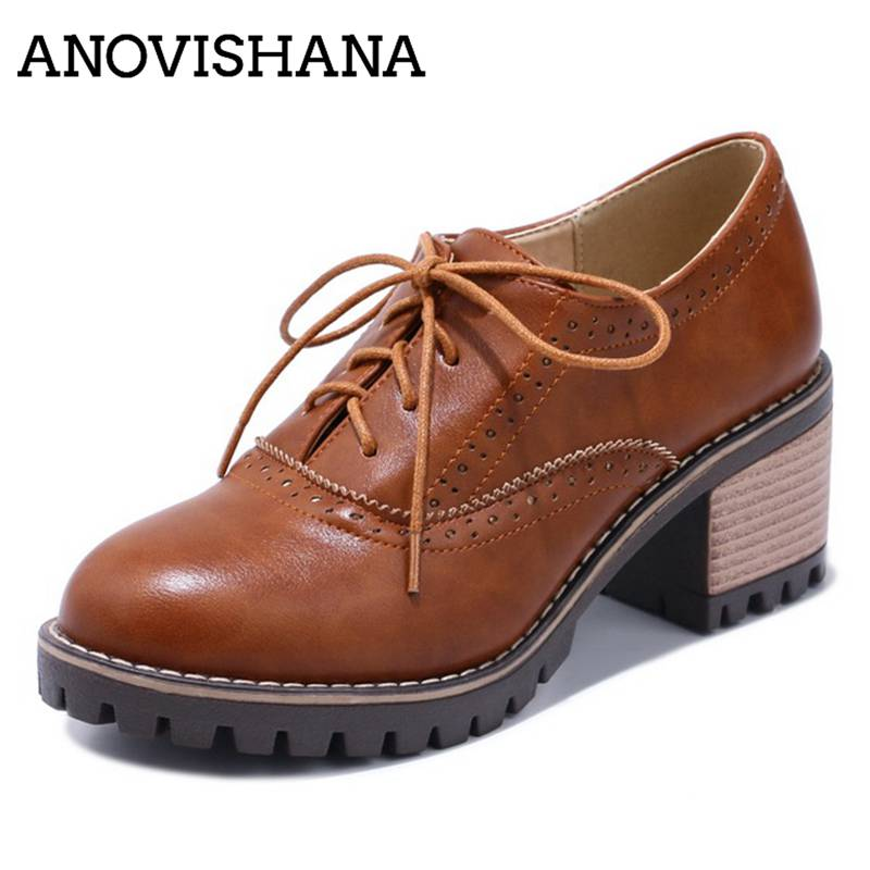 ANOVISHANA Shoes women Chunky heels Causal shoes Lace up Pumps Vintage Mid heels Carved Ladies shoes Plus size 42 43 Retro D001