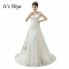 Buy Free 2017 New Custom Made Lace Boat Neck Beading Train Wedding Dresses White Real Photo Trailing Bride Frocks HS600 for $79.80 in AliExpress store