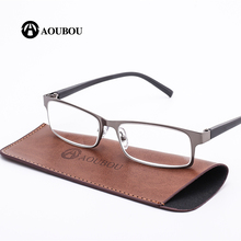 AOUBOU Brand High-end Business Reading Glasses Men Stainless Steel PD62 Glasses Ochki 1.75+3.25 Degree Gafas De Lectura AB002(China)