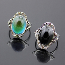 Vintage Retro Color Change Mood Ring Oval Emotion Feeling Changeable Ring Temperature Control r511(China)