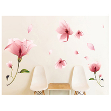 HOT GCZW-Romantic Elegant Frosted Pink Lily Petal Removable DIY Wall Stickers Bedroom Living Room(China)