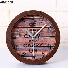 Aimecor Happy Gifts High Quality 1PC Mitation Wood Color World War II Inspirational Posters Retro European Style Wooden Clock