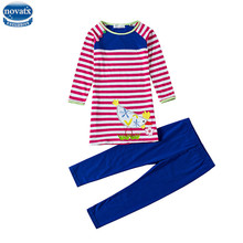 Novatx HH705 clothes suits spring baby girls clothing sets striped children clothes girls casual sets with picture for girls hot(China)