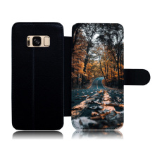 Protective Carrying Cell Phone Case for Samsung Galaxy S6 Edge Autumn Fallen Leaves Leather Flip Cover for Samsung S8 S7 S5(China)