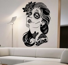 Day of the Dead Wall Decal ROSES GIRL Vinyl Sticker Art Decor Home Bedroom Design Mural interior sugar skull living room tattoo