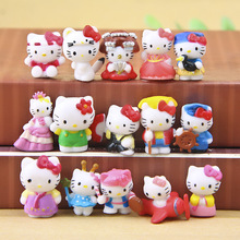 15pcs/lot Mini Kawaii Hello Kitty Figures Dolls DIY Handicrafts Decoration Children Christmas Gifts PVC Action Figures Toy