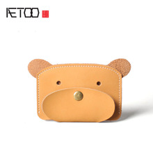 AETOO Winnie the coin purse creative coin bag hand mad horse leather bus card package retro simple leather lady