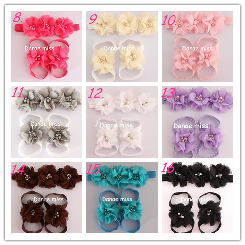First Walkers Sandals Barefoot Baby/Kids Sandals Matching Triple Chiffon pearl Flower Headband 12sets<br><br>Aliexpress
