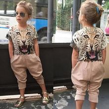 2016 European and American trend of street beat tiger head applique T-shirt + leopard pants 2pcs sets children girls sets TZ443