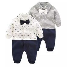 Baby tuxedo jumpsuit boy gentlemen bow tie rompers 2 colors long sleeve plaid jumpsuit wedding birthday party clothe