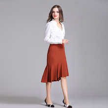 women solid color stretch mermaid skirt ladies trumpet skirt with zipper ruffles design 2017 new office lady femme mujer wear(China)