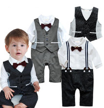 Baby Wedding Tuxedo Toddler Boys Suit Bow Tie Romper +Vest Black Gray Long Sleeve Jumpsuit Toddler Party Birthday Costume Retail
