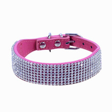 Pet Puppy Cat Dog Kitten Collar Adjustable Bling Diamante Crystal Necklace PU Leather Rhinestone Decor Pets Animals Chain(China)