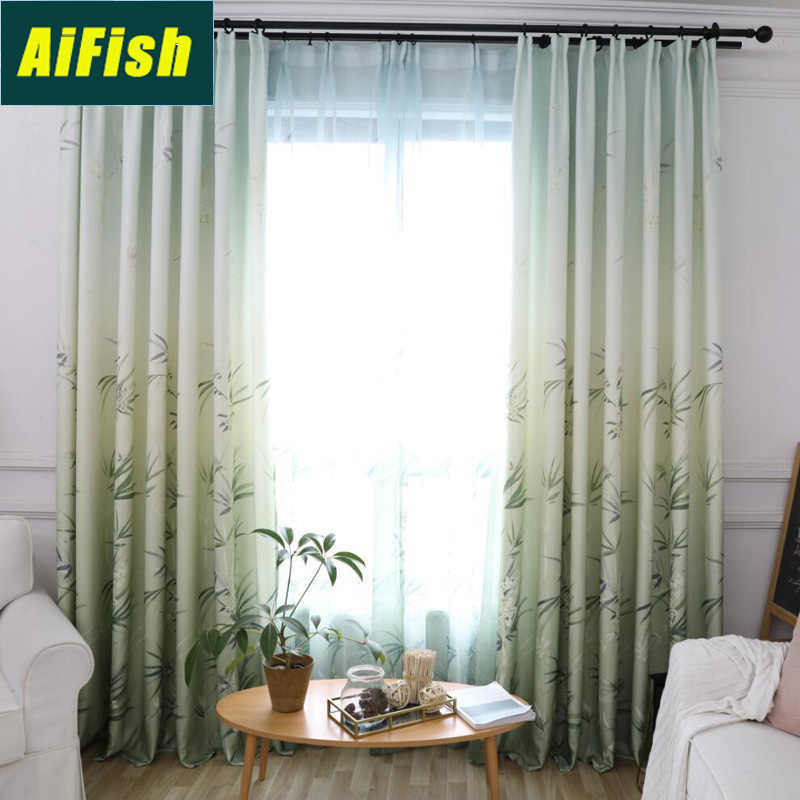 Nordic Style Sheer Voile Curtains Tulle for Living Room Bedroom Chinese Style Green Bamboo Printed Blackout Window Drapery P1913