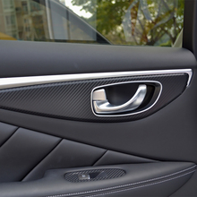 Auto Window Switch Panel Door Handle Trim Carbon Fiber Film Car-styling Sticker Decal Infiniti Q50 Q50L Accessories - Karlor Speciality Store store