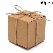 50pcs Shabby Chic Sweets Candy Gift Boxes Chocolate Kraft Brown Wedding Birthaday Party Favor Include Ropes Square Paper