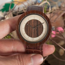 BOBO BIRD Circle and Square Pattern Dial Male Watches CcO13 O14  Zebra Wooden Watches Leather Strap for Men in Wooden Gift Box