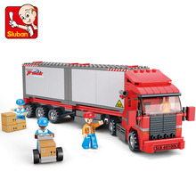 Sluban model building kits compatible with lego city truck 520 3D blocks Educational model & building toys hobbies for children