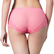 Buy Bud silk popular Women's Panties Lace Gauze Ventilation Underpants Hollow Sexy intimates Taste Enlarge Cotton Briefs
