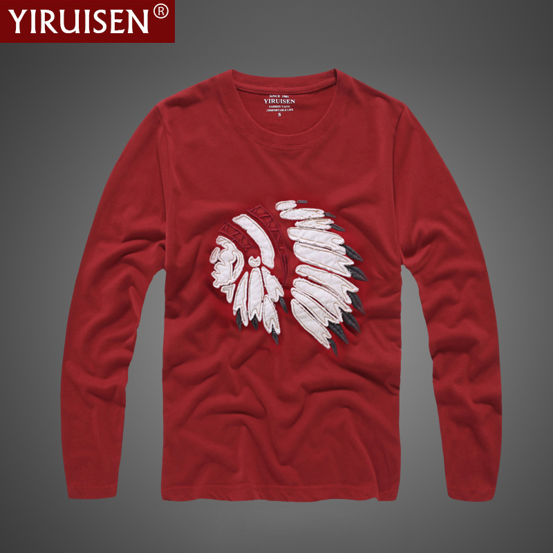 Yiruisen Brand Clothing Indian Style Fashion Long Sleeve T Shirt Men 100 Cotton Shirts Spring Autumn Casual For In From S