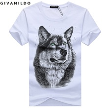Givanildo Wolf Men T-Shirt 5XL White T shirt Casual Cotton Printed Cartoon Short Sleeve Tee Shirt Large Size Summer Hot BY007(China)