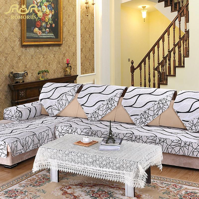 ROMORUS 1 Pc Europe Striped Quilted Sofa Cover Armrest Slipcover White  Fabric Couch Covers Sectional Seat Part 54