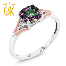 Amazing USA 1.70 Ct Cushion Green Mystic Topaz and Diamond 10K Two-Tone Gold Ring Natural Sexy Women Fine Jewelry(China)