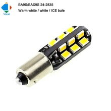 Viewi 20X BA9S BAX9S 2w 12v led lights bulb smd 2835 24led Dc 12 volt Car Wedge Side marker Clearance License Plate light lampen(China)