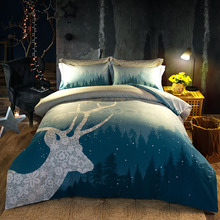 Fashion Tree Deer Blue Print Queen Size 2017 New Soft Cotton Bedlinens Bedding Sets Duvet Cover Set Blankets Sheets
