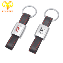 Leather Metal Car Logo Keychain R Line Rline Key Chain Keyring Key Ring For Volkswagen VW Polo Golf 4 5 7 Beetle Jetta Passat CC