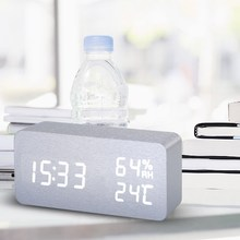 Modern Black LED Digital Alarm Clock Wooden Clock Calendar Thermometer Alarm Clock For Home Decoration