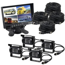 DIYSECUR Rear View Kit 7inch Split QUAD Car Monitor + 4 x CCD Waterproof IR Night Vision Rear View Camera for Monitoring System