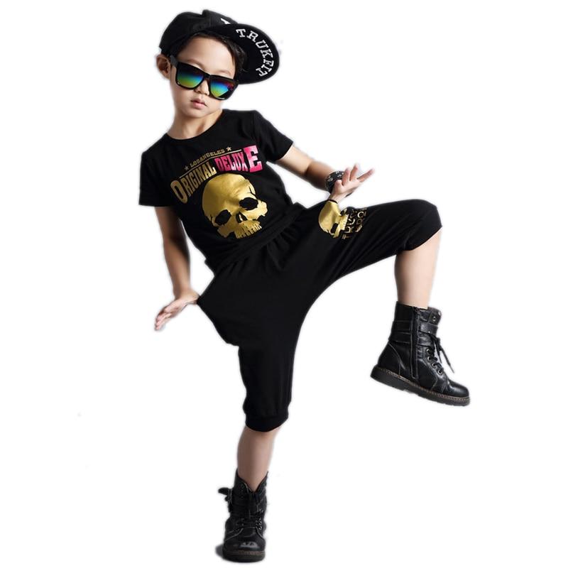 boys clothes summer 2017 new baby hip-hop clothes sets  performance suits crossbones gilding printed boys clothes sets 2pcs 4-9T<br><br>Aliexpress