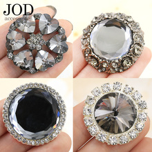 JOD Female Black Diamond Rhinestone Buttons Star Flower Decorative Buckle Mink Coats Cardigan Sweater Buckle Big Metal Buttons(China)