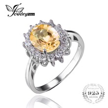 JewelryPalace 2.3ct Princess Diana William Kate Middleton's Natural Citrine Ring 925 Sterling Silver Engagement Rings For Women