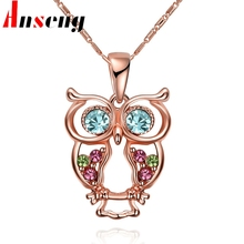 Anseng Brand Trendy Rose Gold Color Owl Pendant Necklace Nnique Design Fashion Collection Animal Charm Chain Necklace Jewelry