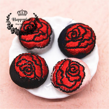 10pcs 18mm Rose Flower Embroidery Fabric Covered Round Flatback Buttons DIY Home Garden Scrapbooking