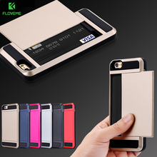 FLOVEME Heavy Duty Case For iPhone 7 iPhone 7 6 6S Plus Cases Slide 2 Card Holder Armor Cover For iPhone 6 6S iPhone 5S SE Case(China)