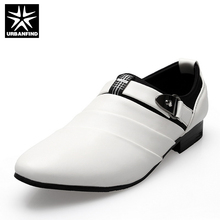 URBANFIND Business Men Formal Shoes Black / White Man Oxfords EU 39-44 Latest Style Pointed Toe Slip On Men Fashion Flats(China)
