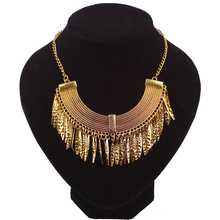 Men Metal Chain Necklace Leaf Design Tassel Necklace Women's Clothing Accessories Perfume Women Jewelry Big Exaggerated Necklace(China)
