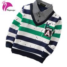 New Baby Boy T-shirt Fashion Casual T-shirt Striped Patchwork Sport Long Sleeve Plus Velvet T Shirt Suit 4-15 Year Hot Sale